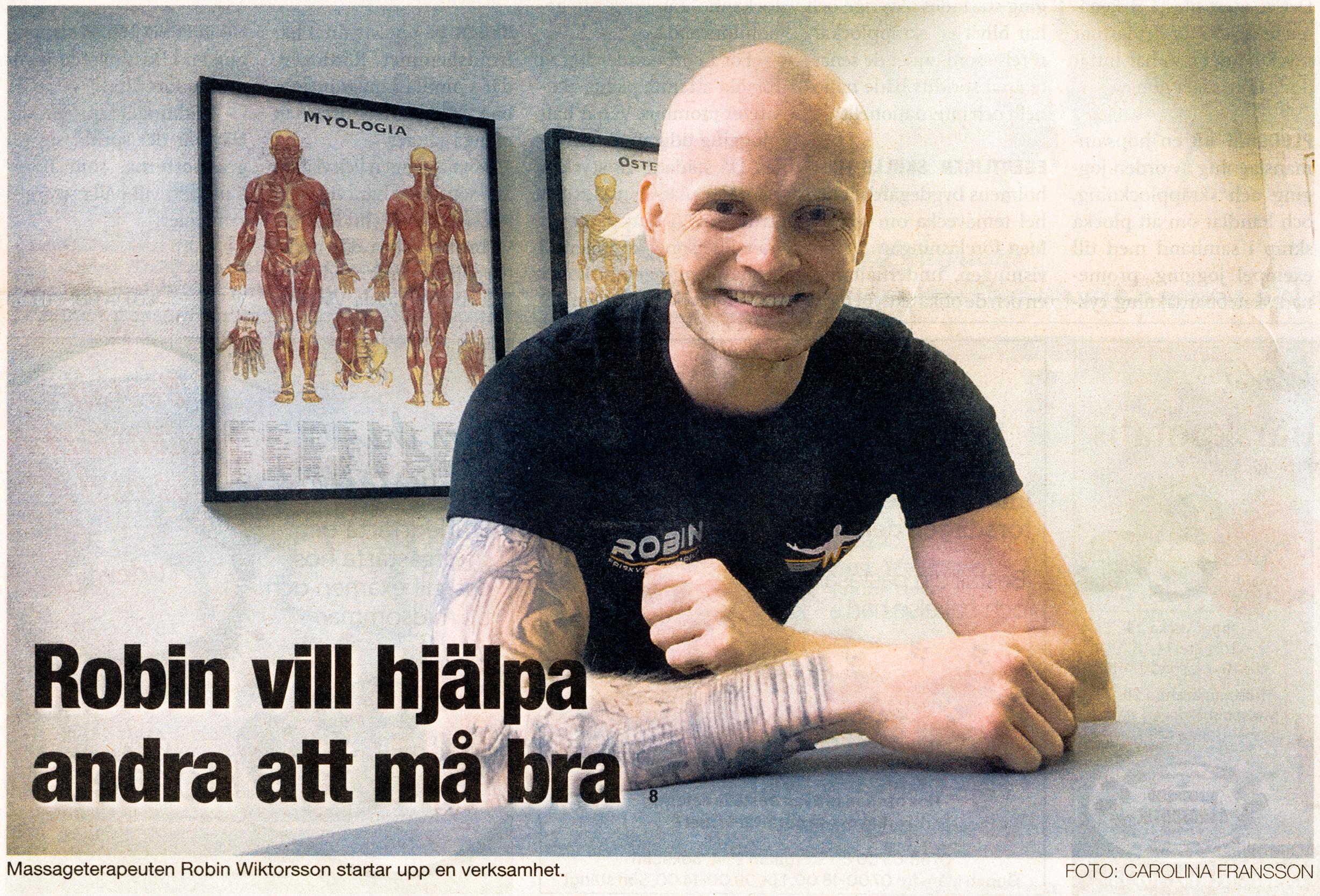 Östgötatidningen 10 Juni 2020, Artikel om Robin Wiktorsson på Wiktorssons Massage & Friskvård i Mjölby