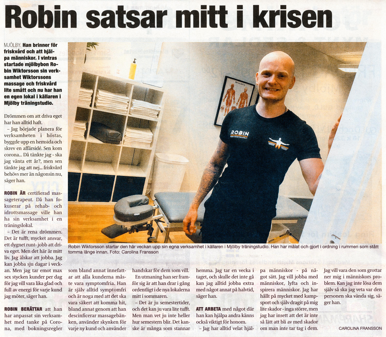 Östgötatidningen 10 Juni 2020, Artikel Robin Wiktorsson startar företaget Wiktorssons Massage & Friskvård i Mjölby